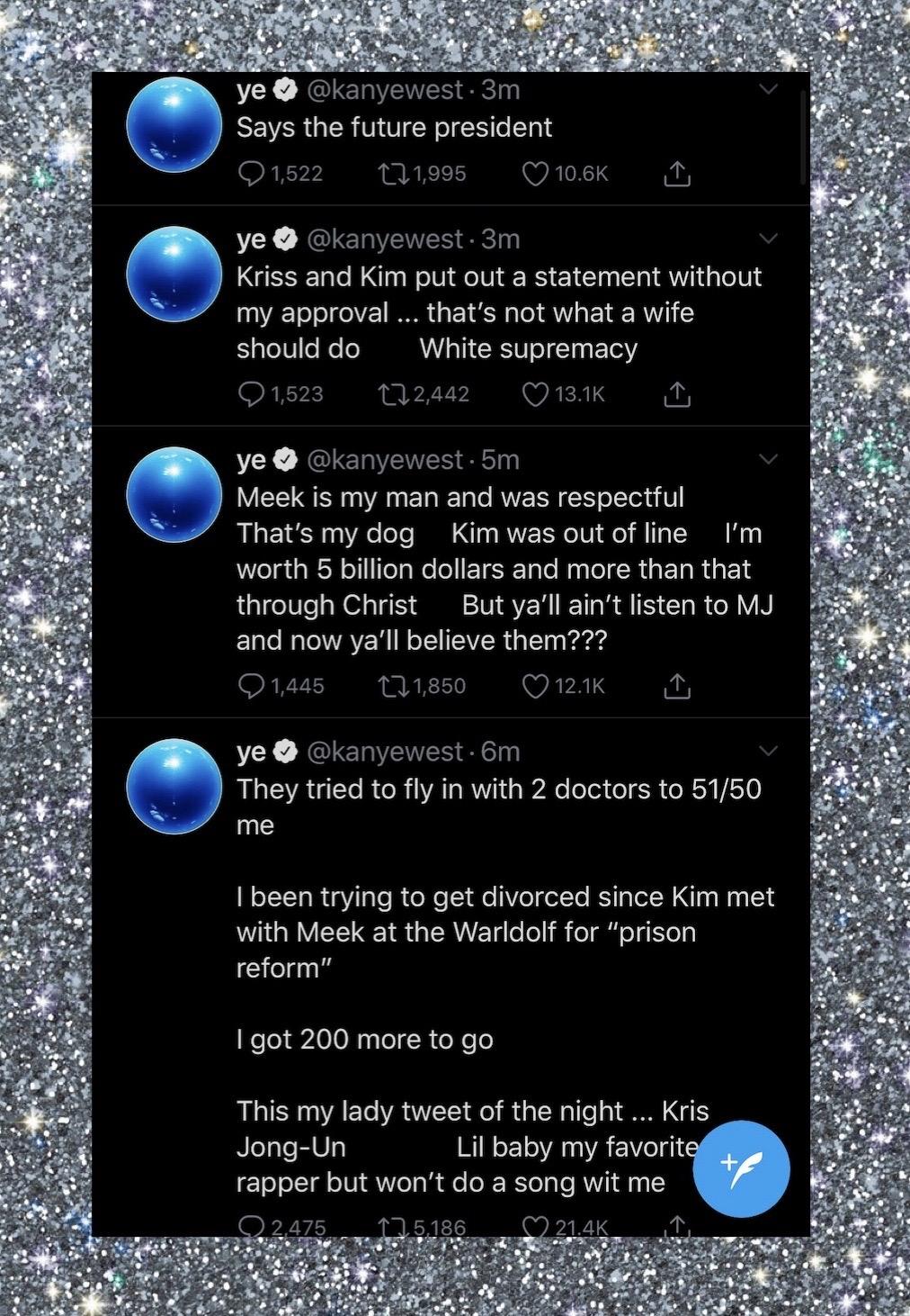 Kanye West divorce twitter rant kim kardashian
