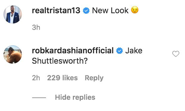 Rob Kardashian trolls Tristan Thompson over new hairstyle in Instagram comment!