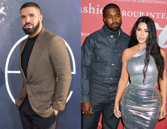 Kim Kardashian takes aim at Drake after he threatens Kanye West.