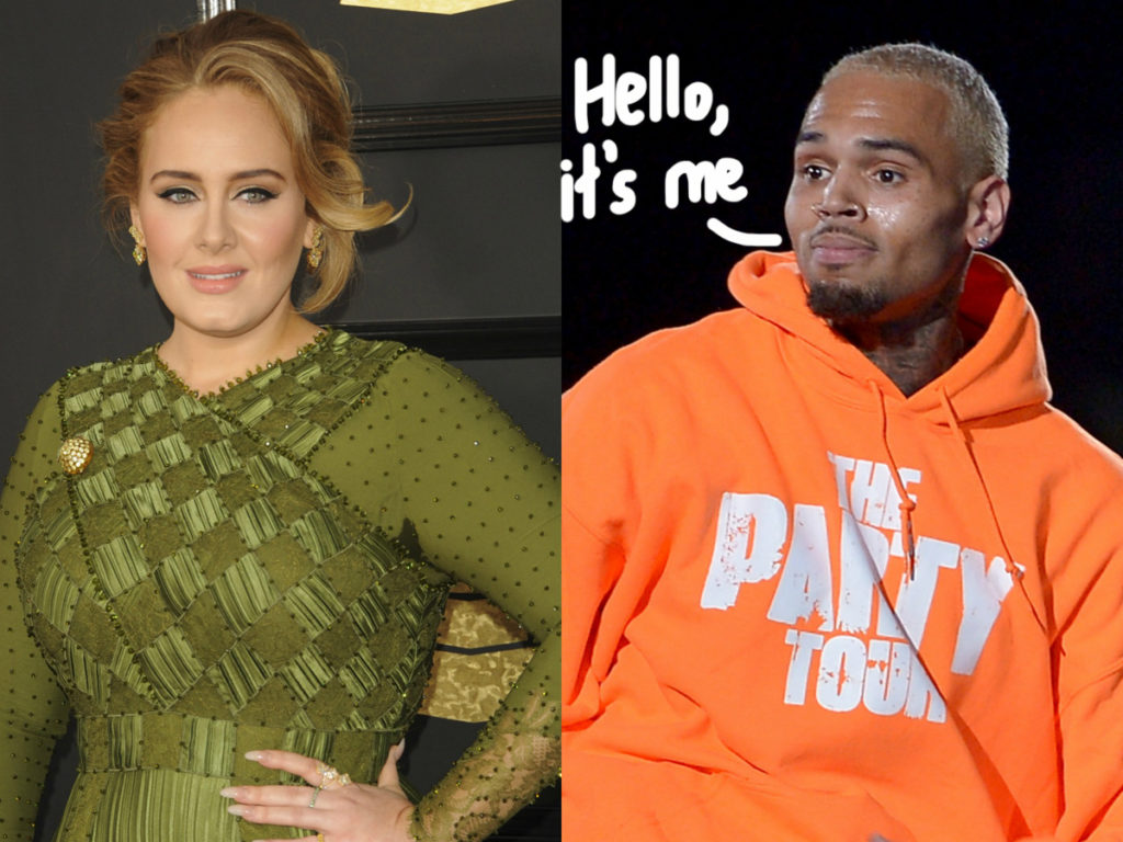 Adele Got A Late Night Visit From Chris Brown What Is Going On Here Perez Hilton