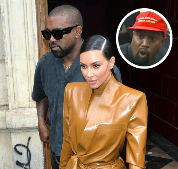 Kim Kardashian sticks up for Kanye West after he meets with Donald Trump and wears a MAGA hat.