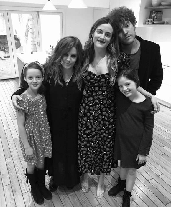 Lisa Marie Presley posing with her kids including late son Benjamin Keough.