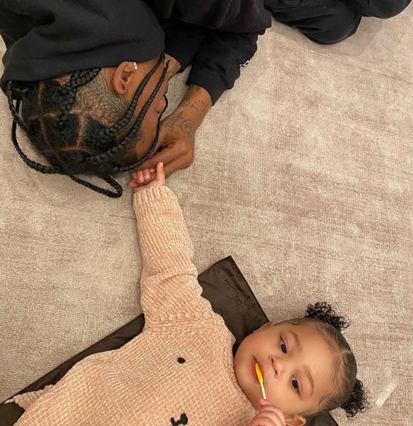 Travis Scott hanging with his daughter Stormi Webster.