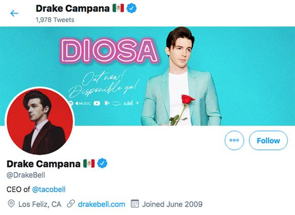 Drake Bell Campana Twitter page