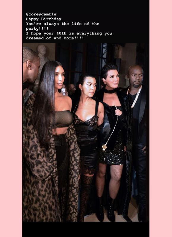 kim kardashian cory gamble aniversário ig história