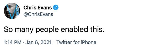 Chris Evans riot capitol tweet backlash