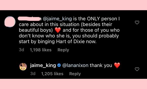 jaime king: many thanks instagram comment