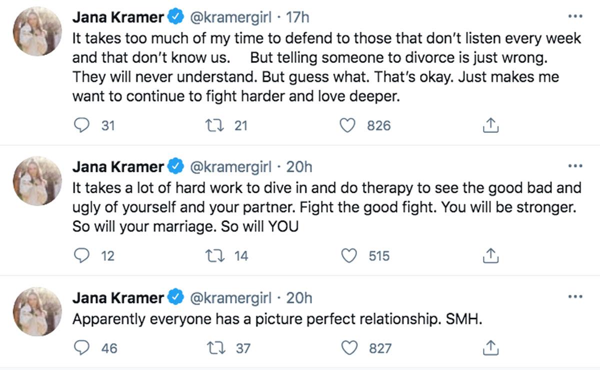 Jana Kramer says she's definitely not going to divorce Mike Caussin! Really, girl?!