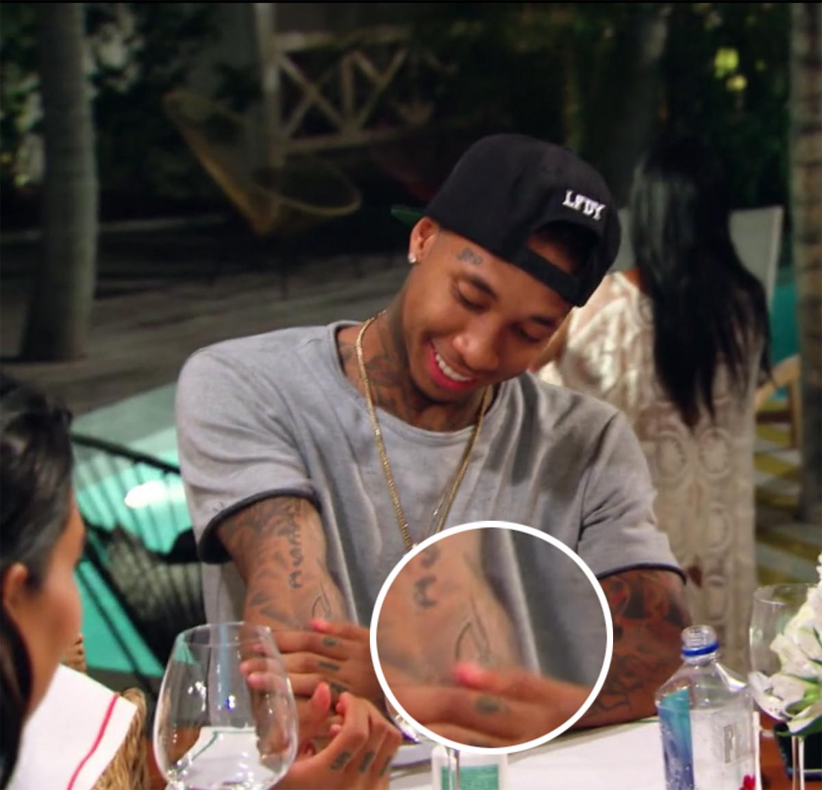 "Tyga showed off his ""Kylie"" tattoo"