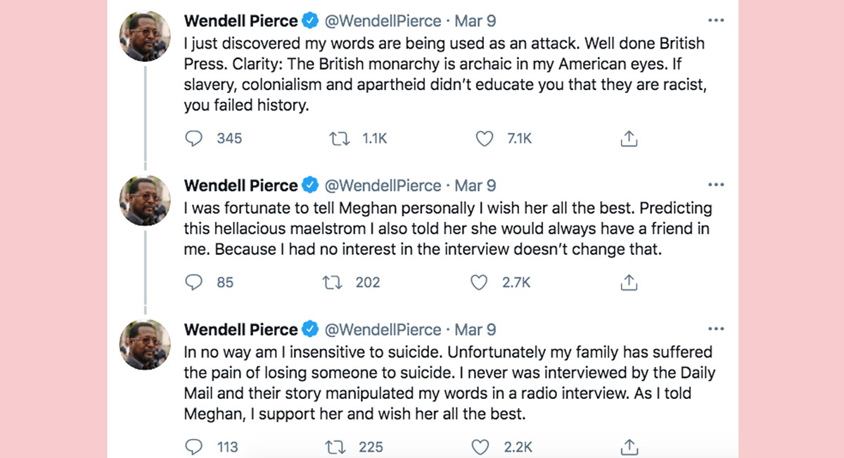 Meghan Markle's former co-star Wendell Pierce clarifies his comments about her interview with Oprah Winfrey!