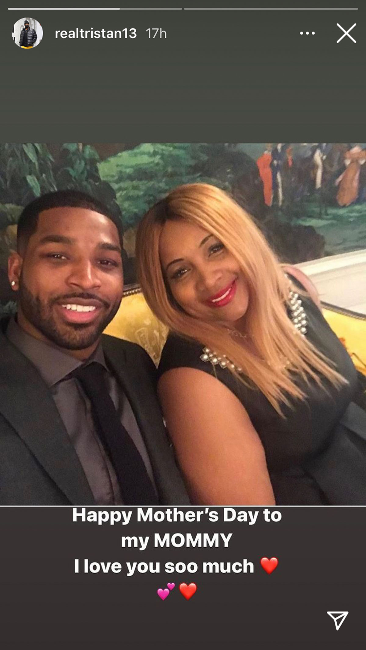 Tristan Thompson celebrates his own mom for Mother's Day!