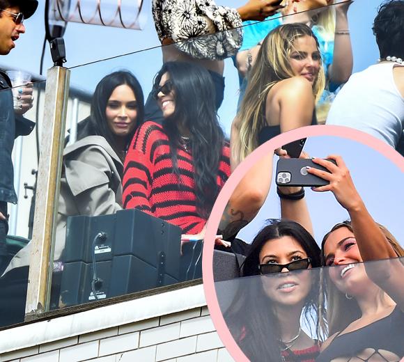 kourtney kardashian, megan fox, addison rae : sitting on side of machine gun kelly rooftop concert