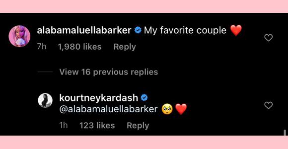 kourtney kardashian, alabama barker : comments on latest PDA ig post