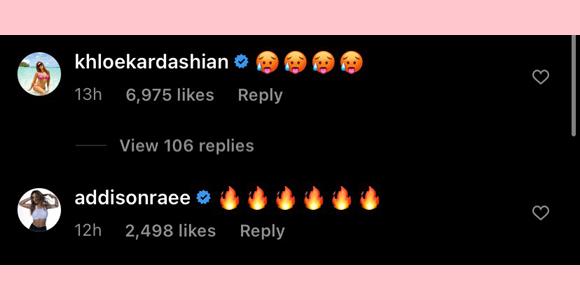 kourtney kardashian, khloe kardashian, addison rae : emoji comments on latest PDA ig post