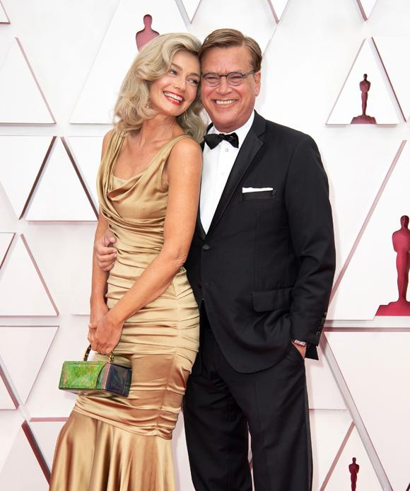 Paulina Porizkova and West Wing creator Aaron Sorkin at the 2021 Oscars
