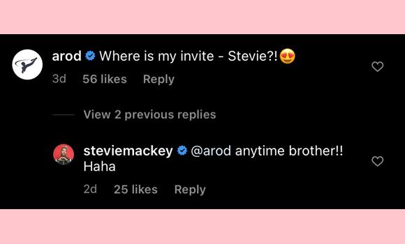 alex rodriguez, stevie mackie : instagram comment