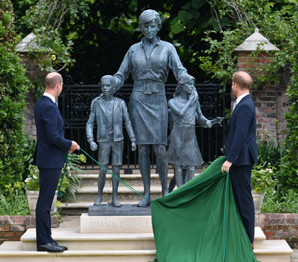 prince william, prince harry : unveil new statue of diana at kensington