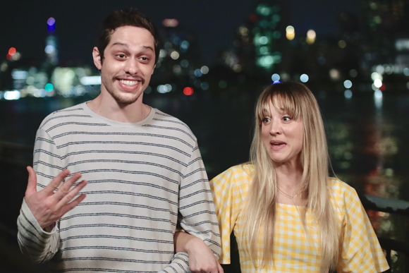 Kaley Cuoco and Pete Davidson filming Meet Cute
