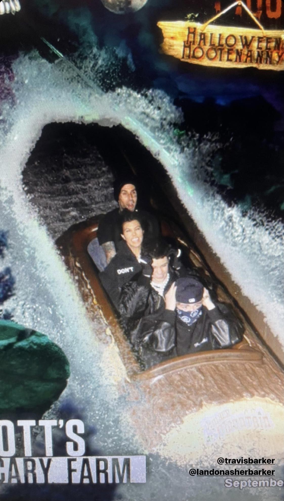 Not Scared! Kourtney Kardashian & Travis Barker Make Out Amid Monsters During Festive Halloween-Themed Date Night!