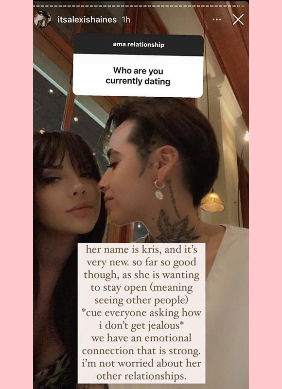 alexis haines : explains kris relationship on instagram story